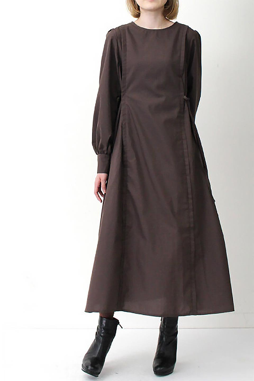 SideRibbonPuffSleeveDressサイドリボン・パフスリーブワンピース大人カジュアルに最適な海外ファッションのothers(その他インポートアイテム)のワンピースやマキシワンピース。サイドのリボンがアクセントのロングワンピース。パフスリーブのシンプルなデザインで女性らしを感じるアイテム。/main-25