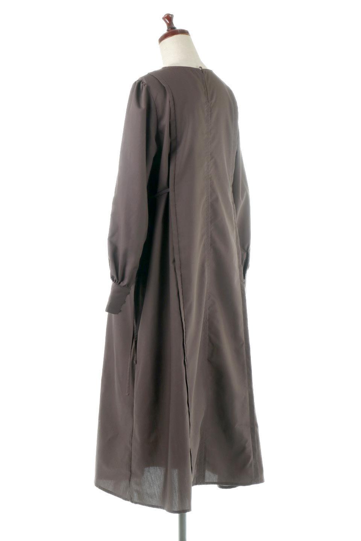 SideRibbonPuffSleeveDressサイドリボン・パフスリーブワンピース大人カジュアルに最適な海外ファッションのothers(その他インポートアイテム)のワンピースやマキシワンピース。サイドのリボンがアクセントのロングワンピース。パフスリーブのシンプルなデザインで女性らしを感じるアイテム。/main-3
