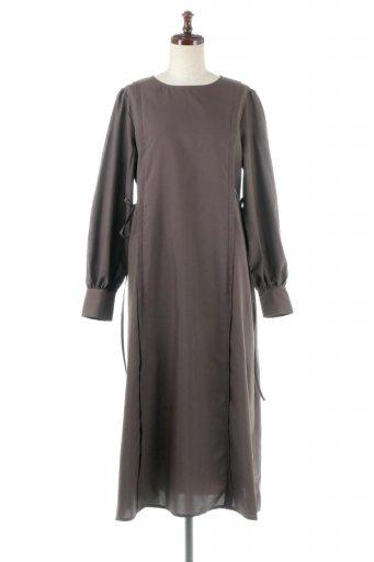 海外ファッションや大人カジュアルに最適なインポートセレクトアイテムのSide Ribbon Puff Sleeve Dress サイドリボン・パフスリーブワンピース