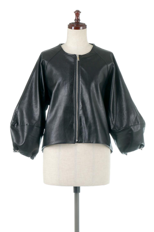 PuffSleeveEcoLeatherJacket袖コンシャス・エコレザージャケット大人カジュアルに最適な海外ファッションのothers(その他インポートアイテム)のアウターやジャケット。ボリュームのある袖と短めの着丈でバランスが取りやすいレザージャケット。パフスリーブのシルエットで腕周りをきれいに見せてくれます。