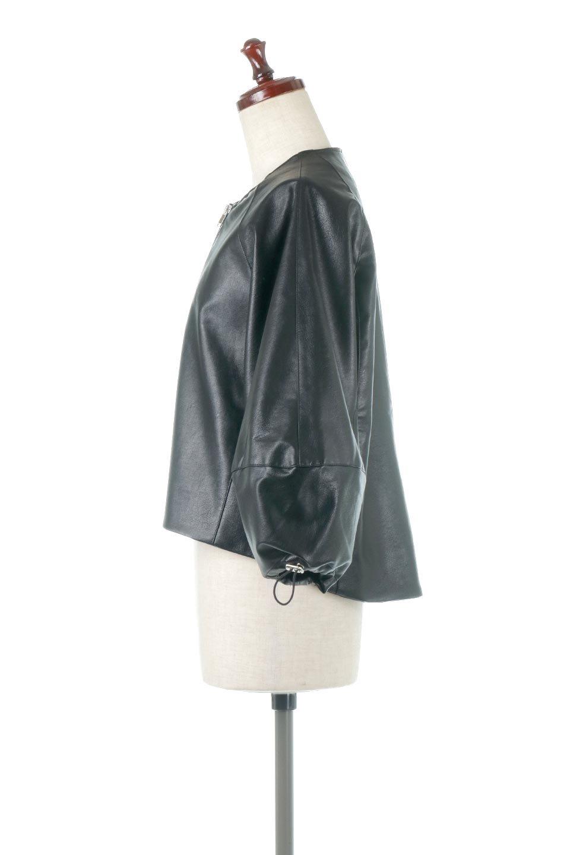 PuffSleeveEcoLeatherJacket袖コンシャス・エコレザージャケット大人カジュアルに最適な海外ファッションのothers(その他インポートアイテム)のアウターやジャケット。ボリュームのある袖と短めの着丈でバランスが取りやすいレザージャケット。パフスリーブのシルエットで腕周りをきれいに見せてくれます。/main-2