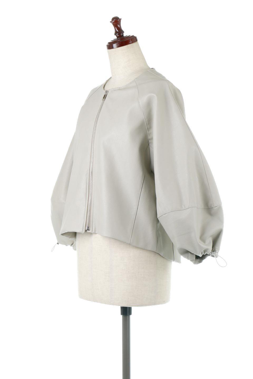 PuffSleeveEcoLeatherJacket袖コンシャス・エコレザージャケット大人カジュアルに最適な海外ファッションのothers(その他インポートアイテム)のアウターやジャケット。ボリュームのある袖と短めの着丈でバランスが取りやすいレザージャケット。パフスリーブのシルエットで腕周りをきれいに見せてくれます。/main-6