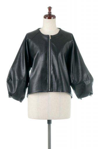 Puff Sleeve Eco Leather Jacket 袖コンシャス・エコレザージャケット / 大人カジュアルに最適な海外ファッションが得意な福島市のセレクトショップbloom