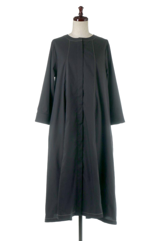 FlarePanelLongShirtsDressコットンストレッチ・シャツワンピース大人カジュアルに最適な海外ファッションのothers(その他インポートアイテム)のワンピースやミディワンピース。ゆったり目なのに細見え効果抜群の長袖シャツワンピース。タイトではない程よいシェイプ感があり、女性らしいシルエットが美しいワンピースです。