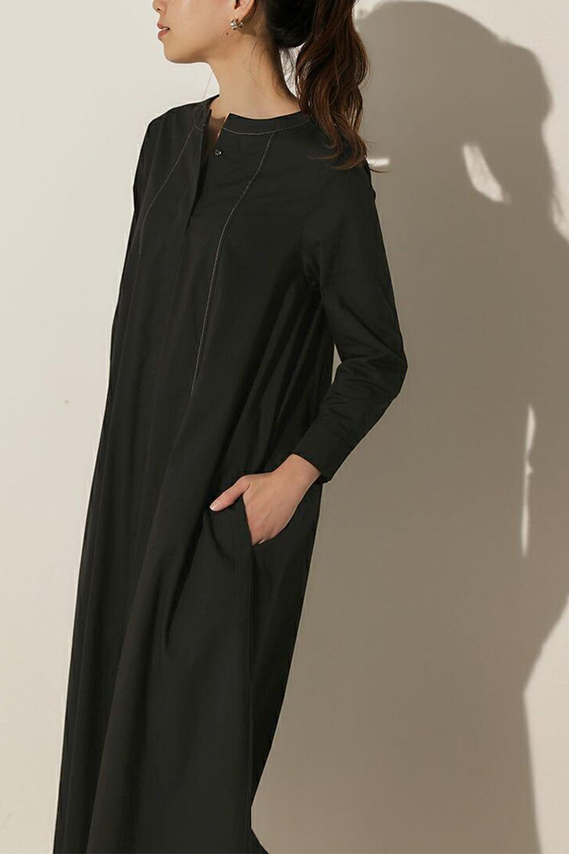 FlarePanelLongShirtsDressコットンストレッチ・シャツワンピース大人カジュアルに最適な海外ファッションのothers(その他インポートアイテム)のワンピースやミディワンピース。ゆったり目なのに細見え効果抜群の長袖シャツワンピース。タイトではない程よいシェイプ感があり、女性らしいシルエットが美しいワンピースです。/main-16