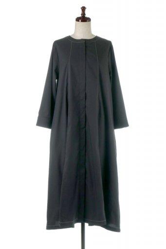 海外ファッションや大人カジュアルに最適なインポートセレクトアイテムのFlare Panel Long Shirts Dress コットンストレッチ・シャツワンピース