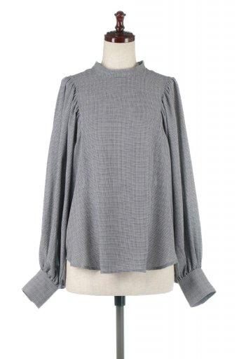 海外ファッションや大人カジュアルに最適なインポートセレクトアイテムのCheck Gather Sleeve Blouse チェック柄・ギャザーブラウス