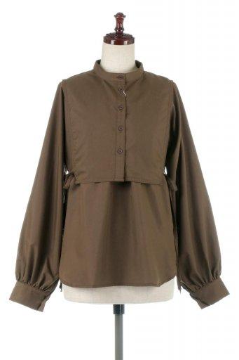 海外ファッションや大人カジュアルに最適なインポートセレクトアイテムのTie-Up Side Bustier Blouse ビスチェ付き・パフスリーブブラウス