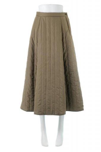 海外ファッションや大人カジュアルに最適なインポートセレクトアイテムのInsulated Quilted Flare Skirt 中綿入り・キルティングスカート