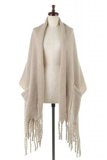 海外ファッションや大人カジュアルに最適なインポートセレクトアイテムのBig Knit Stole With Pocket 起毛2Way・大判フリンジストール