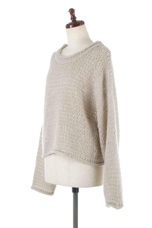 LowGaugeShortKnitTopローゲージ・ショートセーター大人カジュアルに最適な海外ファッションのothers(その他インポートアイテム)のトップスやニット・セーター。手編みのようなざっくりとしたローゲージのゆるさが可愛いニットプルオーバー。編地は透け感もあり、レイヤードスタイルにもぴったりです。/main-1