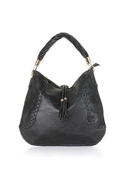 meliebiancoのMargarita(Black)/海外ファッション好きにオススメのインポートバッグとかばん、MelieBianco(メリービアンコ)のバッグやハンドバッグ。ややスリムなデザインがスタイリッシュなショルダーバッグ。ねじねじの持ち手や、揺れるタッセルがとてもかわいい仕上がりです。