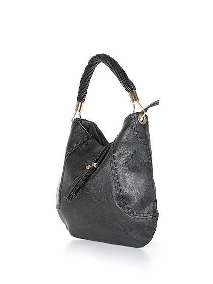 meliebiancoのMargarita(Black)/海外ファッション好きにオススメのインポートバッグとかばん、MelieBianco(メリービアンコ)のバッグやハンドバッグ。ややスリムなデザインがスタイリッシュなショルダーバッグ。ねじねじの持ち手や、揺れるタッセルがとてもかわいい仕上がりです。/main-1