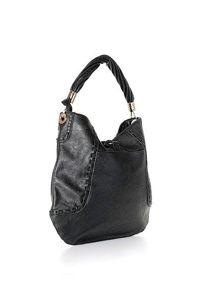 meliebiancoのMargarita(Black)/海外ファッション好きにオススメのインポートバッグとかばん、MelieBianco(メリービアンコ)のバッグやハンドバッグ。ややスリムなデザインがスタイリッシュなショルダーバッグ。ねじねじの持ち手や、揺れるタッセルがとてもかわいい仕上がりです。/main-3