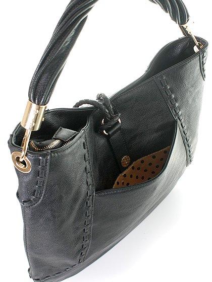 meliebiancoのMargarita(Black)/海外ファッション好きにオススメのインポートバッグとかばん、MelieBianco(メリービアンコ)のバッグやハンドバッグ。ややスリムなデザインがスタイリッシュなショルダーバッグ。ねじねじの持ち手や、揺れるタッセルがとてもかわいい仕上がりです。/main-5