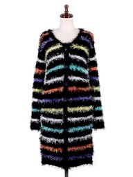 海外ファッションや大人カジュアルに最適なインポートセレクトアイテムのMulticolor Striped Mohair Coat