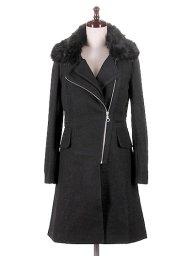 海外ファッションや大人カジュアルに最適なインポートセレクトアイテムのLong Biker Caot w/Black Fur