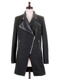 海外ファッションや大人カジュアルに最適なインポートセレクトアイテムのBlack Lapel Biker Coat