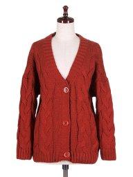 海外ファッションや大人カジュアルに最適なインポートセレクトアイテムのCable Knit Cardigan (Wine)