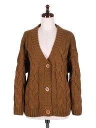 海外ファッションや大人カジュアルに最適なインポートセレクトアイテムのCable Knit Cardigan (Brown)