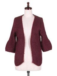 海外ファッションや大人カジュアルに最適なインポートセレクトアイテムのHalf Sleeve Open Cardigan (Wine)