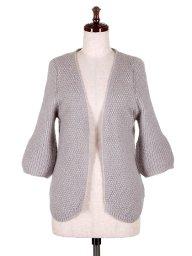海外ファッションや大人カジュアルに最適なインポートセレクトアイテムのHalf Sleeve Open Cardigan (Gray)
