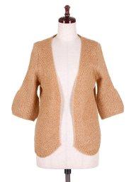海外ファッションや大人カジュアルに最適なインポートセレクトアイテムのHalf Sleeve Open Cardigan (Camel)