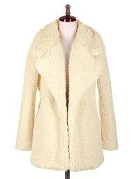 海外ファッションや大人カジュアルに最適なインポートセレクトアイテムのNotch Lapel Boa Coat
