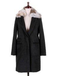 海外ファッションや大人カジュアルに最適なインポートセレクトアイテムのChesterfield Coat w/Rabbit Fur (Black)