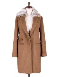海外ファッションや大人カジュアルに最適なインポートセレクトアイテムのChesterfield Coat w/Rabbit Fur (Camel)