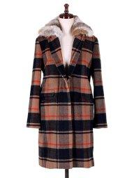 海外ファッションや大人カジュアルに最適なインポートセレクトアイテムのChesterfield Coat w/Rabbit Fur (Check)