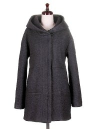 海外ファッションや大人カジュアルに最適なインポートセレクトアイテムのWool blend Black Hooded Coat