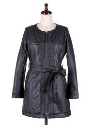 海外ファッションや大人カジュアルに最適なインポートセレクトアイテムのNo-Collar Long Biker Coat