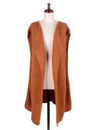 海外ファッションや大人カジュアルに最適なインポートセレクトアイテムのDraped Hem Long Vest (Camel)