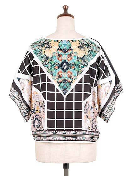JealousTomatoのFloral&CheckeredBlouse/海外ファッション好きにオススメなFlyingTomato(フライングトマト)のトップスやシャツ・ブラウス。全面総柄プリントのトップス。ゆったり目のシルエットで、しかもストレッチの効いた素材なので着心地も良いアイテムです。/main-4