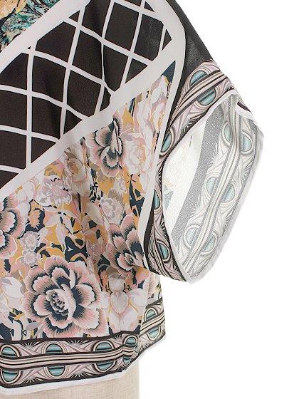 JealousTomatoのFloral&CheckeredBlouse/海外ファッション好きにオススメなFlyingTomato(フライングトマト)のトップスやシャツ・ブラウス。全面総柄プリントのトップス。ゆったり目のシルエットで、しかもストレッチの効いた素材なので着心地も良いアイテムです。/main-7