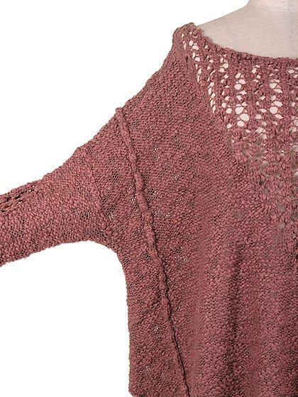 FreePeopleのPrettyPointelleVee(Rose)/世界中のセレブファッション好きに大人気のFreePeople(フリーピープル)のトップスやニット・セーター。毎年人気のオーバーサイズドニット。スキニーボトムやゆったりシルエットのスカートなど、ボトムを問わず合わせられます。/main-9