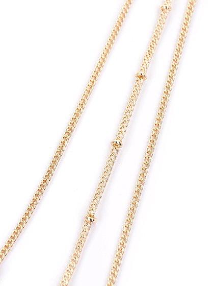 L.A.直輸入のStone&ReefLongNecklace大人カジュアルに最適な海外ファッションのothers(その他インポートアイテム)のアクセサリーやネックレス。ひとつでエレガントなスタイルが完成する3連ネックレス。ゴールドで縁取りされた無造作なカットのターコイズとリーフモチーフ、ゴールドチェーンで、どこか暖かみのあるデザインとなっています。/main-5